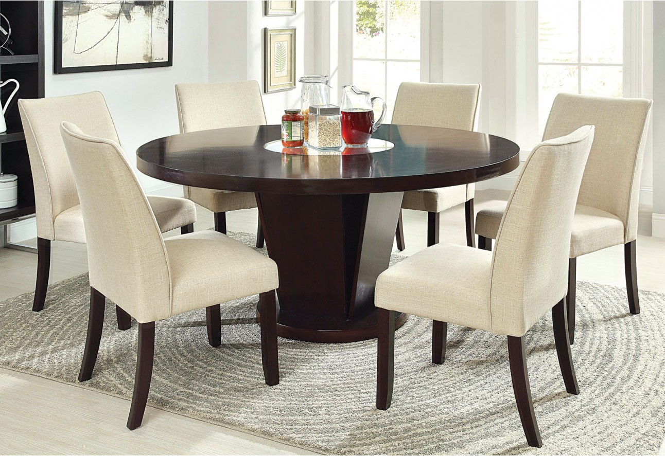 cm3556t round top solid wood with mirror dining table set