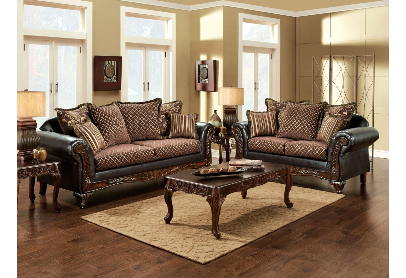 America san roque gold brown fabric espresso leatherette living room