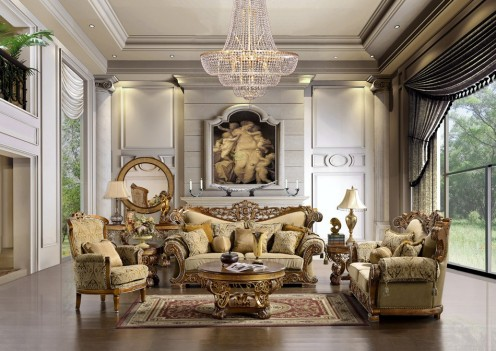 HD 369 Homey Design upholstery living room set Victorian, European & Classic design Sofa Set