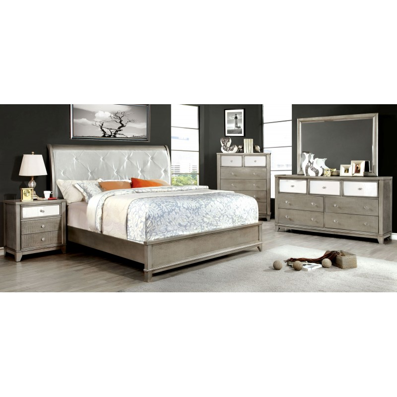 Silver Bedroom Furniture : ... Bedroom > CM7288 SV Furniture of America Bryant Bedroom Set Silver