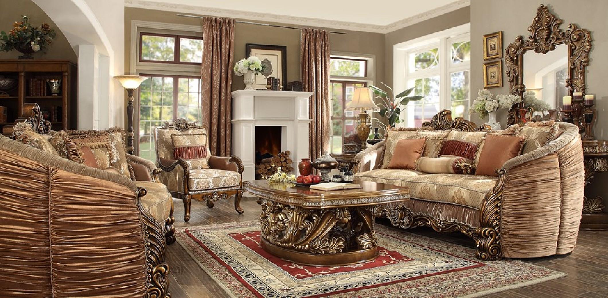 Hd 1601 Homey Design Upholstery Living Room Set Victorian European Classic Design Sofa Set