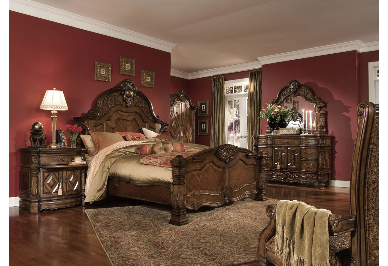 aico windsor court bedroom set collection vintage fruitwood finish