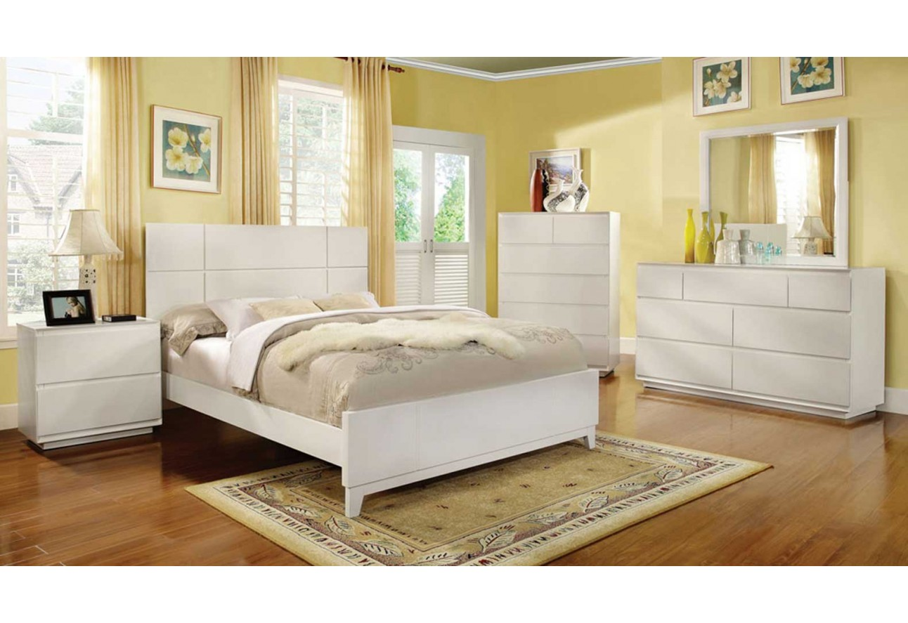 Import Furniture Of America Felica Traditional White Bedroom Set The